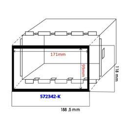 Keret a dupla ISO (110mm) autórádiókeretekhez kínai készülékekhez 572342-K