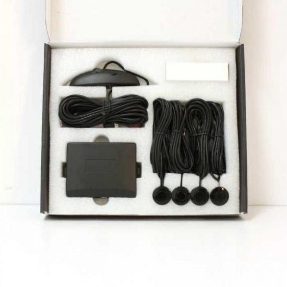 LED kijelzős tolatóradar (4 szenzor, hangszóró) - fekete színű szenzorokkal
